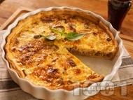 Рецепта Вкусен домашен френски киш с бекон или шунка, яйца и сметана